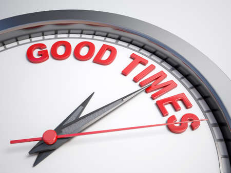 good time: Clock with words good time