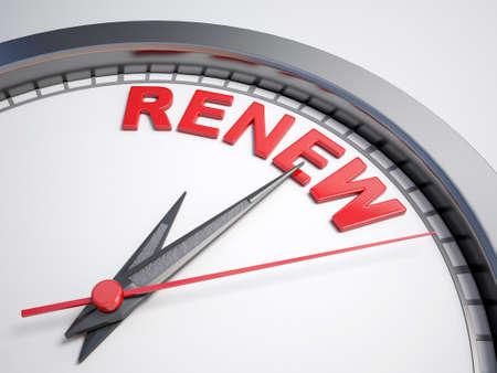 renew: Clock with word  renew
