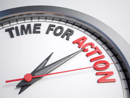 Clock with words time for action