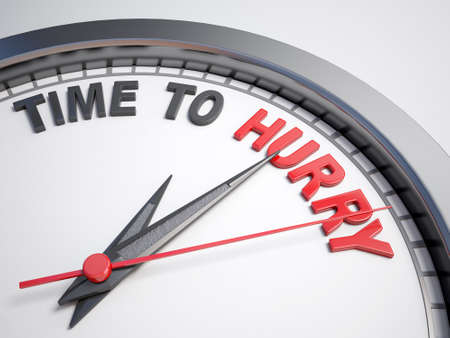 count down: Clock with words time to hurry  Stock Photo