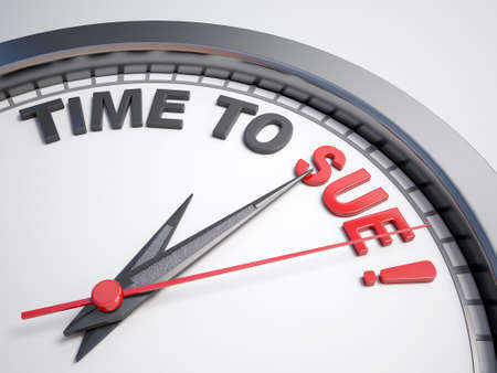 sue: Clock with words time to sue