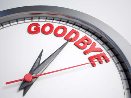 goodbye: Clock with words time to say goodbye on its face Stock Photo