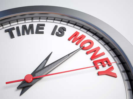 Clock with words time is money on its face Stock Photo - 43938931
