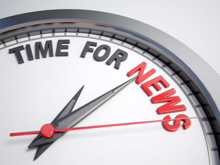 count down: Clock with words time for news on its face