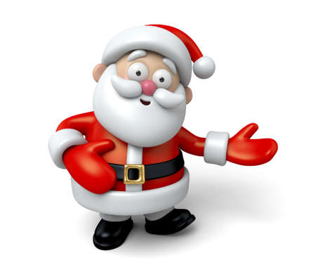 santa claus: The Santa Claus makes a personalized gesture