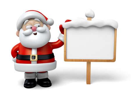 Le Père Noël et un panneau d'affichage
