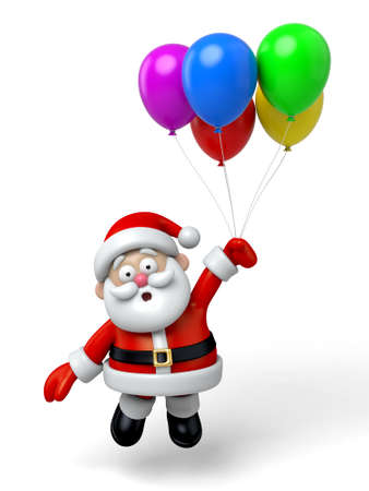 balloon cartoon: The Santa Claus and a lot of colourful balloons