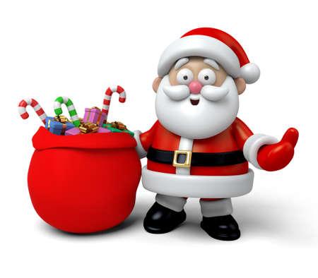 christmas gifts: The Santa Claus and a huge bag of Christmas gifts