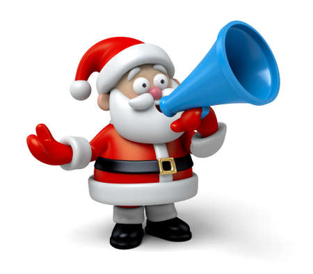 informing: The Santa Claus is shouting with the speaker