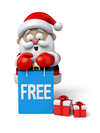 cartoon present: The Santa Claus and a few of free gifts