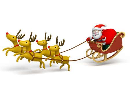 papa noel: Santa Claus en su trineo Foto de archivo