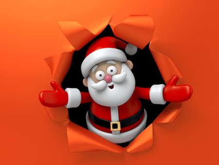 cartoon present: Santa emerging through a hole torn in red paper