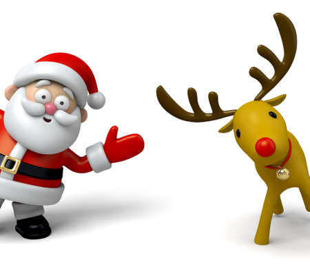 3d icons: The Santa Claus and reindeer