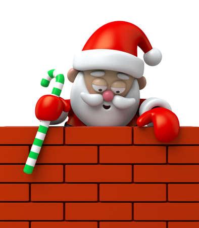 산타 클로스가 등반 벽에있다.
