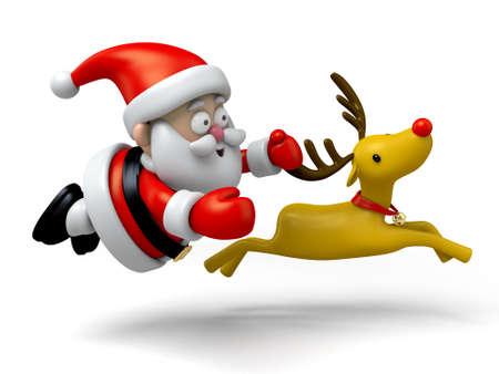 Santa: The Santa Claus and reindeer