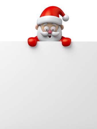 papa noel: El Santa Claus y un tablero blanco