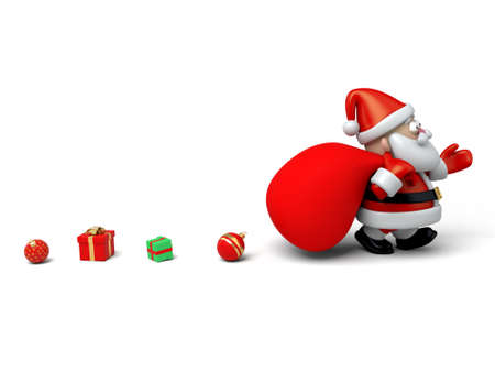 christmas characters: The Santa Claus and a huge bag of gifts