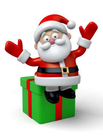 cartoon present: Santa sitting on christmas gift