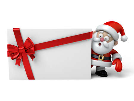 card design: The Santa Claus and a gift box Stock Photo
