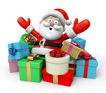 cartoon christmas eve: The Santa Claus and a lot of gifts Stock Photo
