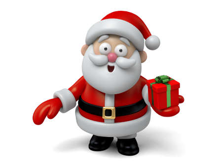 santa claus background: The Santa Claus and a gift box Stock Photo