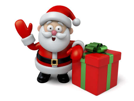 papa noel: El Papá Noel y una caja de regalo Foto de archivo