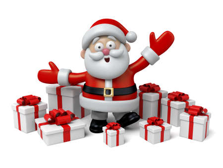 santa claus background: The Santa Claus and a lot of gifts Stock Photo