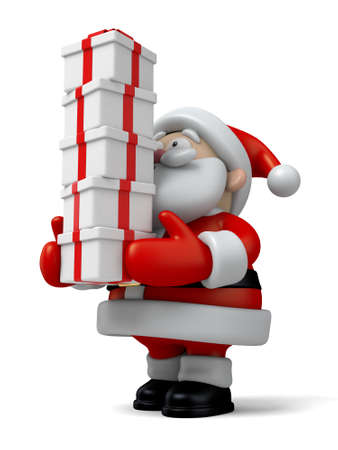 cartoon present: The Santa Claus and a lot of gifts Stock Photo