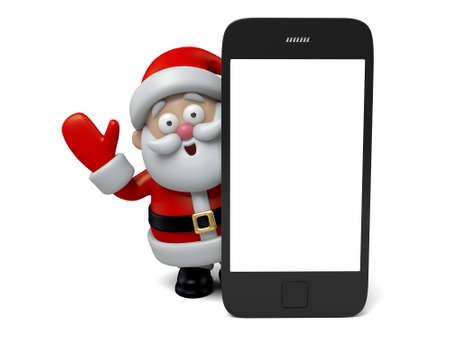 telefono caricatura: El Santa Claus y un teléfono celular Foto de archivo