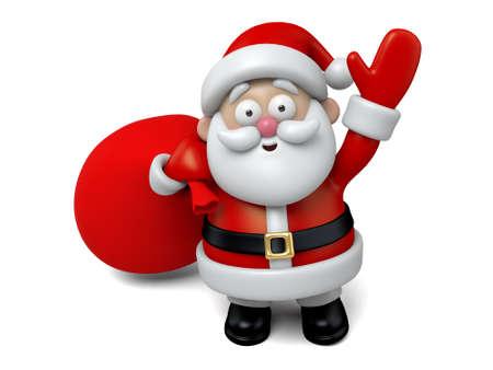 papa noel: El Santa Claus y una gran bolsa de regalos Foto de archivo
