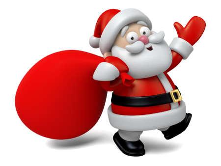 santa clos: El Santa Claus y una gran bolsa de regalos Foto de archivo
