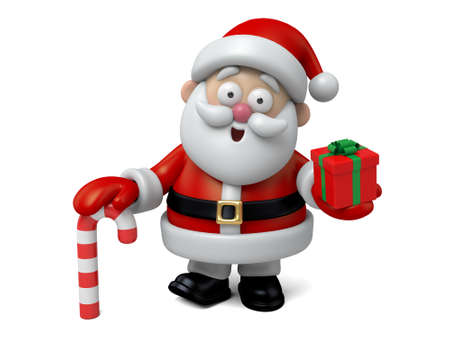 cartoon present: The Santa Claus and a gift box Stock Photo
