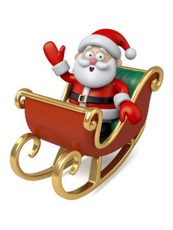 santa sleigh: The Santa Claus in his sleigh Stock Photo