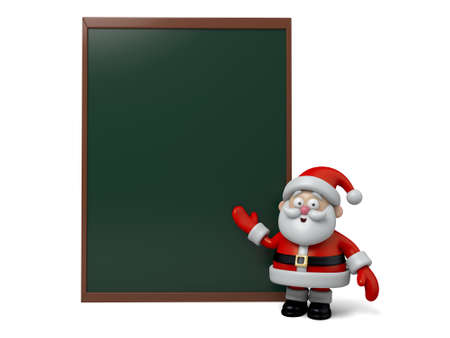 santa claus background: The Santa Claus and a blackboard Stock Photo
