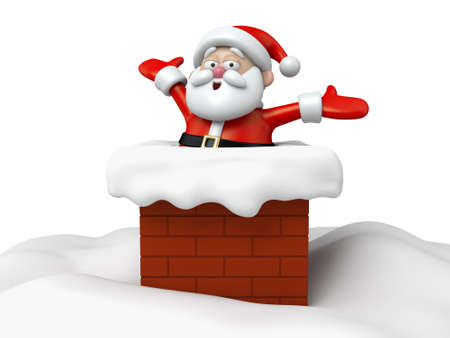 going down: The Santa Claus is going down the chimney