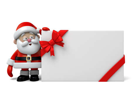 cartoon christmas eve: The Santa Claus and a gift box Stock Photo
