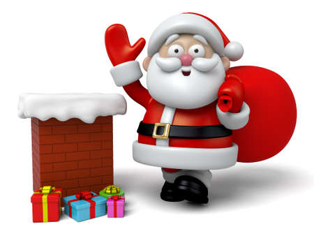 pere noel: Le Père Noël va descendre dans la cheminée Banque d'images