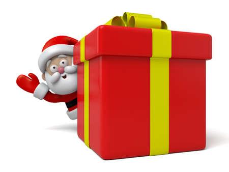 preset: Santa Claus behind a big christmas preset Stock Photo