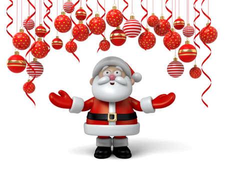 cartoon present: Santa claus standing under ornament balls Stock Photo