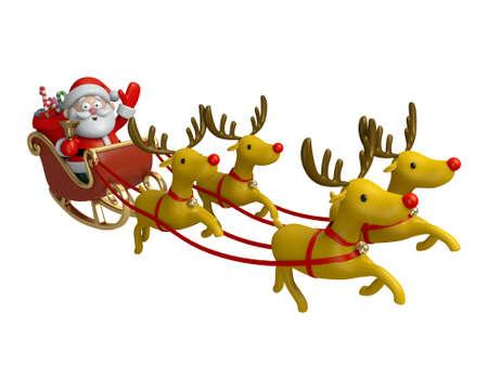 Père Noël dans son traîneau Banque d'images