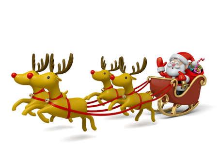trineo: Santa Claus en su trineo Foto de archivo
