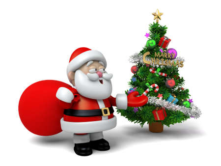 cartoon present: The Santa Claus and a christmas tree