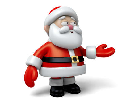 claus: The Santa Claus makes a personalized gesture