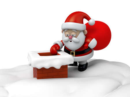 chimney: The Santa Claus is going down the chimney