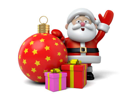cartoon present: The Santa Claus and Christmas gifts Stock Photo