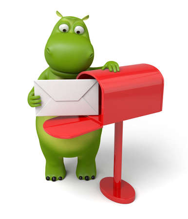 The 3d hippo got a letter in the mailbox