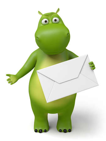 cartoon envelope: The 3d hippo and a letter