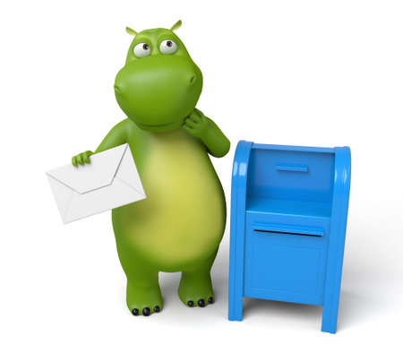 The 3d hippo put the letter into the mailbox Stock Photo