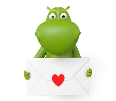 love letter: The 3d hippo and a love letter Stock Photo