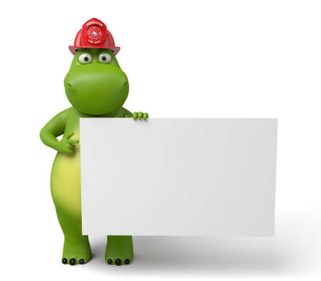 a placard: The 3d hippo and a placard Stock Photo